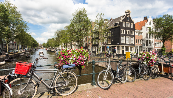 Amsterdam Canal with Bicycles