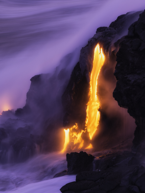 Lava ocean entry Kilauea Hawaii