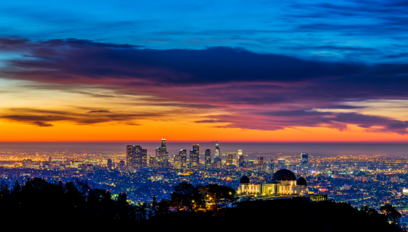 Los Angeles skyline with Griffith Park Observatory