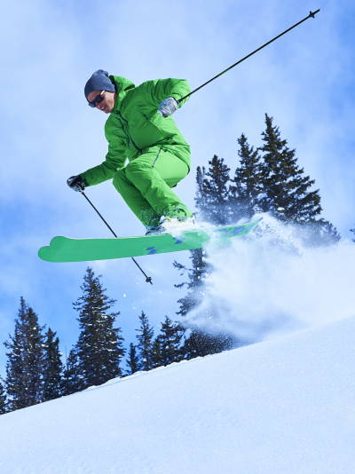 Man jumping while skiing Aspen Colorado