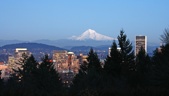 Portland skyline with Mt Hood