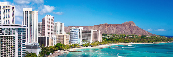 Waikiki Beach Aerial with Diamond Head  GettyImages-177715145