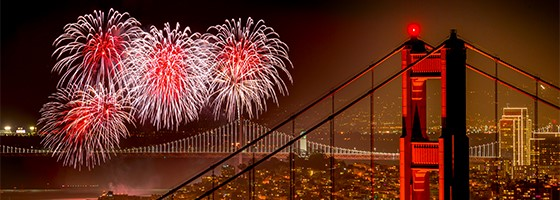 Fireworks and Golden Gate Bridge San Francisco