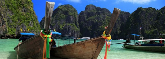 Long Tail Boats Maya Bay Phi Phi Islands Thailand