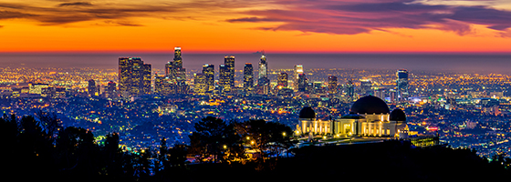 Los Angeles Skyline with Griffith Park Observatory at Sunrise
